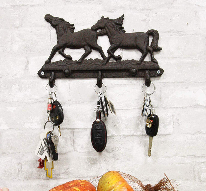"Ebros Cast Iron Rustic Western Country Galloping Horses Coats Keys Hats Leash Backpacks Wall Hanging Hooks 11"" Wide 3 Peg Hook Decor Hangers Cowboy Decorative Organizer For Mudroom Main Entrance Walls"