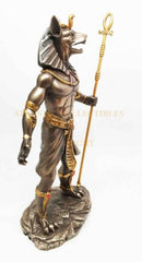 Ebros Egyptian Theme Anubis Holding Staff God of Aferlife & Dead Inpu Statue Sculpture
