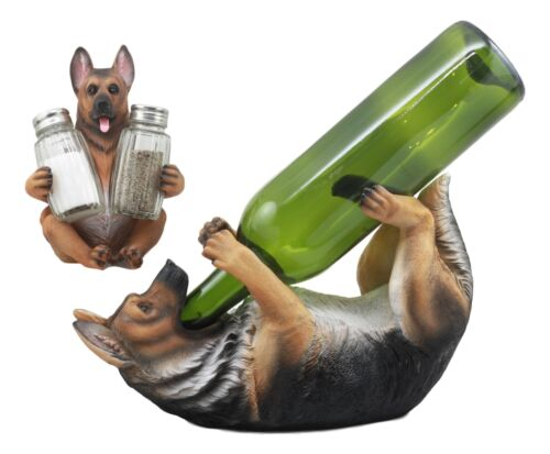 Ebros Police Patrol Dog German Shepherd Wine Holder and Salt Pepper Shakers Holder Figurine Set