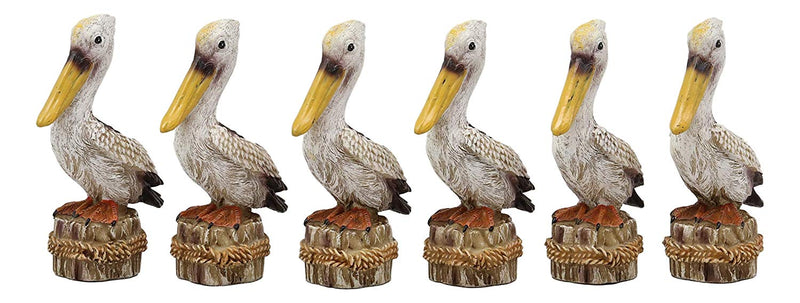 "Ebros Gift 4.75"" Tall Small Ocean Marine Beach Coastal Great White Pelican Bird Perching On Getty Post Statue Home Decor Birds Pelicans Nature As Centerpiece Decorative Sculpture Figurine (6)"