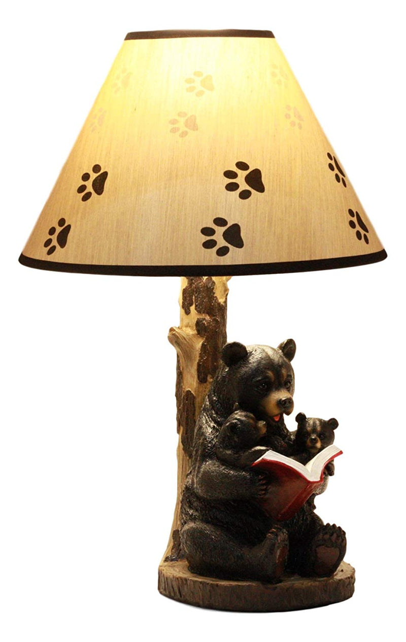 Bedtime Story Mama Bear Reading to Baby Bears Table Lamp with Printed Paw Shade