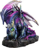 "Ebros Violet Blue Midnight Sky Gemstone Mother Dragon with Baby Wyrmling Statue 7.25"" Long Home Decor Resin Medieval Fantasy Dungeons and Dragons Figurine"