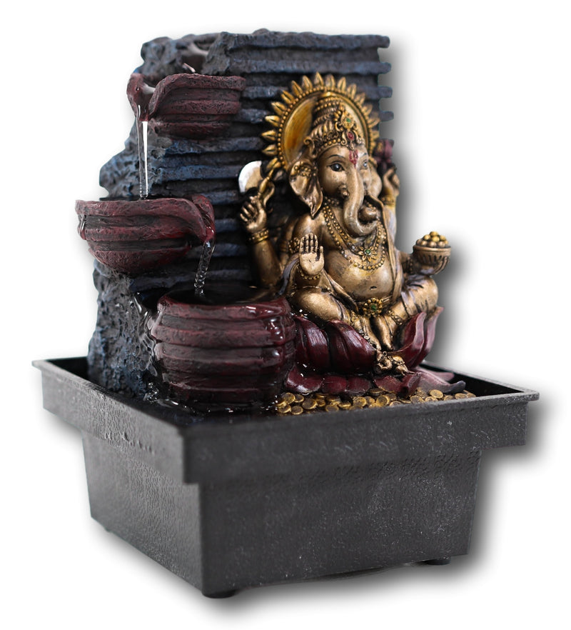Ebros Elephant-Headed Hindu god Ganesha Flowing Water Fountain Resin Home Decor