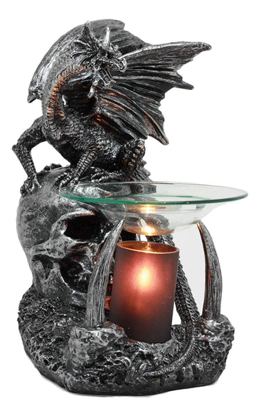 "Ebros Gothic Sabretooth Skull Graveyard Dragon Electric Oil Burner Or Tart Warmer Decor Statue 8.5"" Tall Home Fragrance Aroma Accessory Figurine"