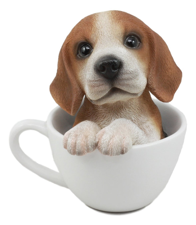 "Ebros Adorable Teacup Beagle Dog Statue 5.5"" Tall Pocket Beagle Puppy Dog Breed Collectible Decor With Glass Eyes"