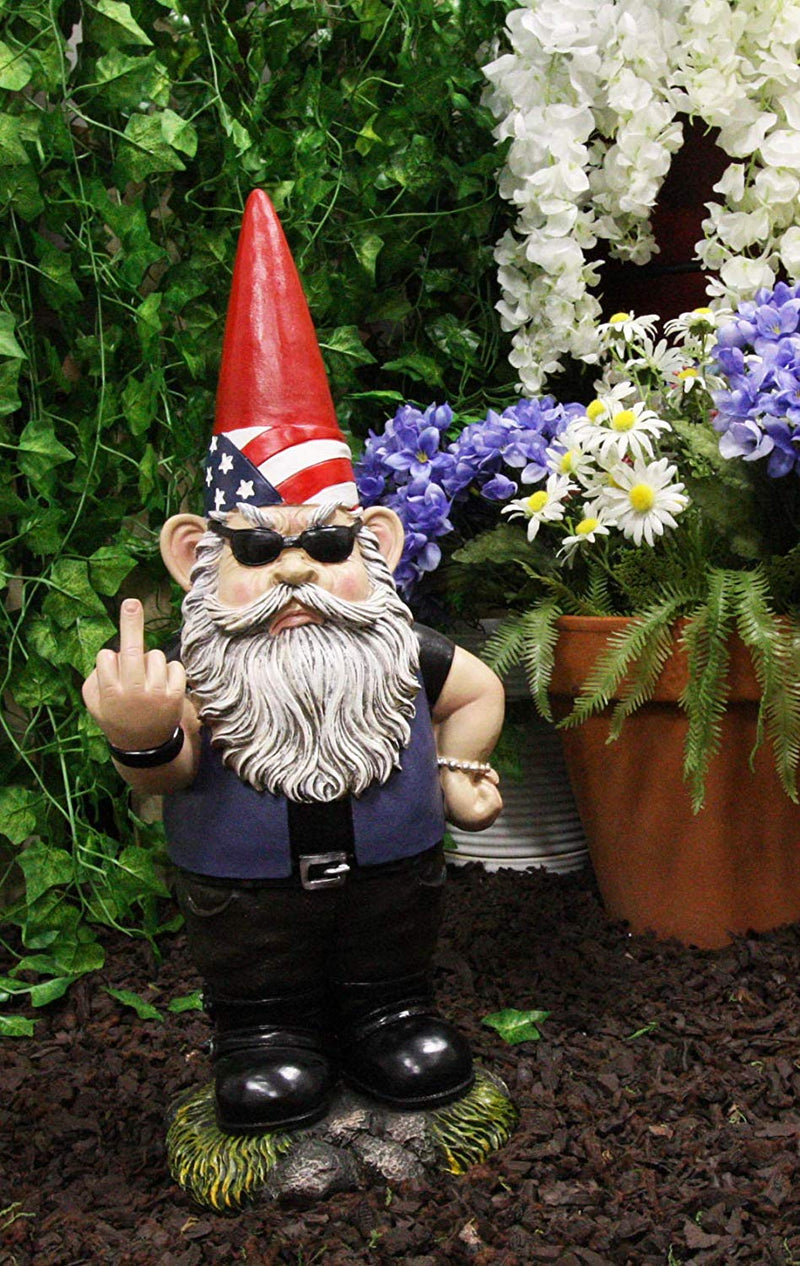 Ebros Set of 2 Rude Gnomes Go Away Unwelcome Gnomes Flipping Double Birds Statue - Ebros Gift