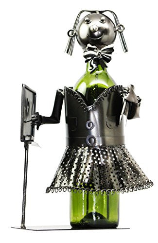 "13"" Tall Female Teacher With Lesson Board Hand Made Metal Wine Bottle Holder Caddy Figurine"