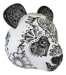 Black White Tattoo Tooled Floral Heart Panda Bear Head Day Of The Dead Figurine