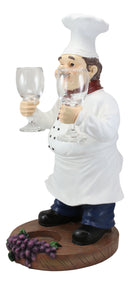 "Standing Chef Paul Vineyard Wine Bottle And 2 Glasses Holder Valet Statue 19""H"