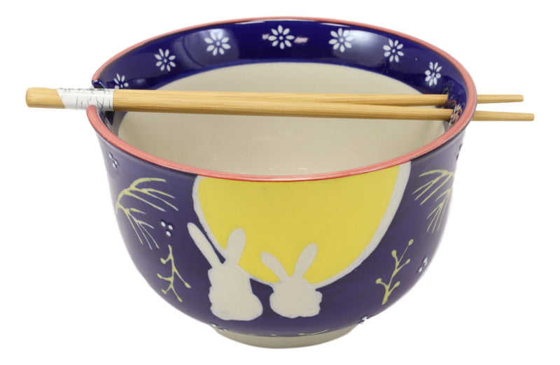 "2 Bunny Rabbits And Full Moon Ramen Noodles Soup Large 6""D Bowl With Chopsticks"
