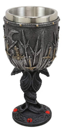 Valyrian Steel Swords And Armory With Entwined Double Dragons Wine Goblet 6oz