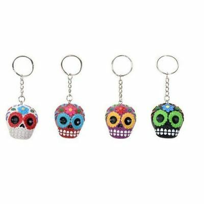 Ebros Gift White Red Purple and Black Sugar Skull Key Chain Set of 4 Pcs