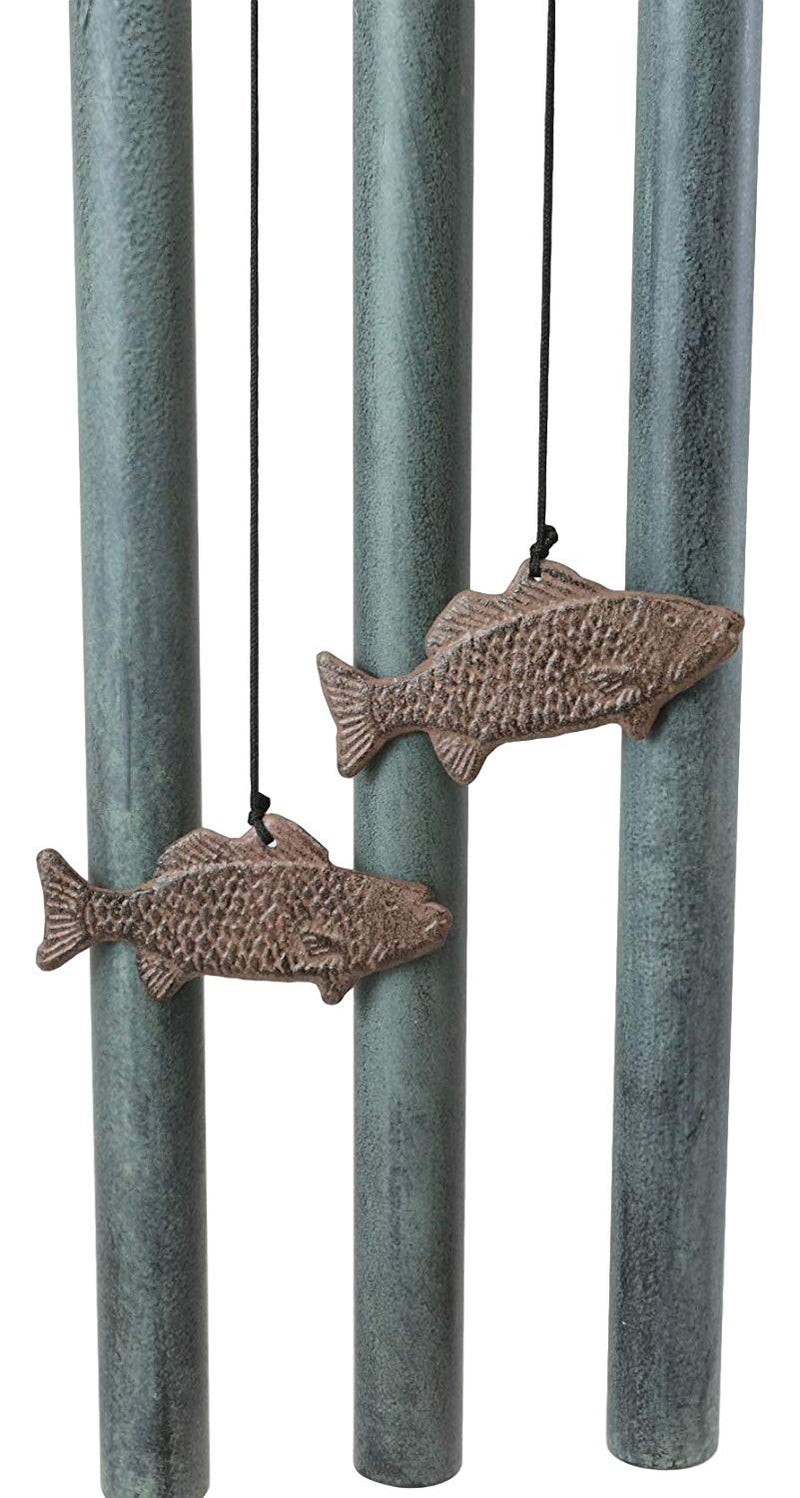 "Ebros Gift Aluminum Whimsical Bunny Rabbit Explorers On A Sail Boat with Telescope Tube Wind Chime Sculpture with Hanging Fish Ornaments 25.5"" Tall Garden Lawn Patio Home Pool Deck Accent Decor"
