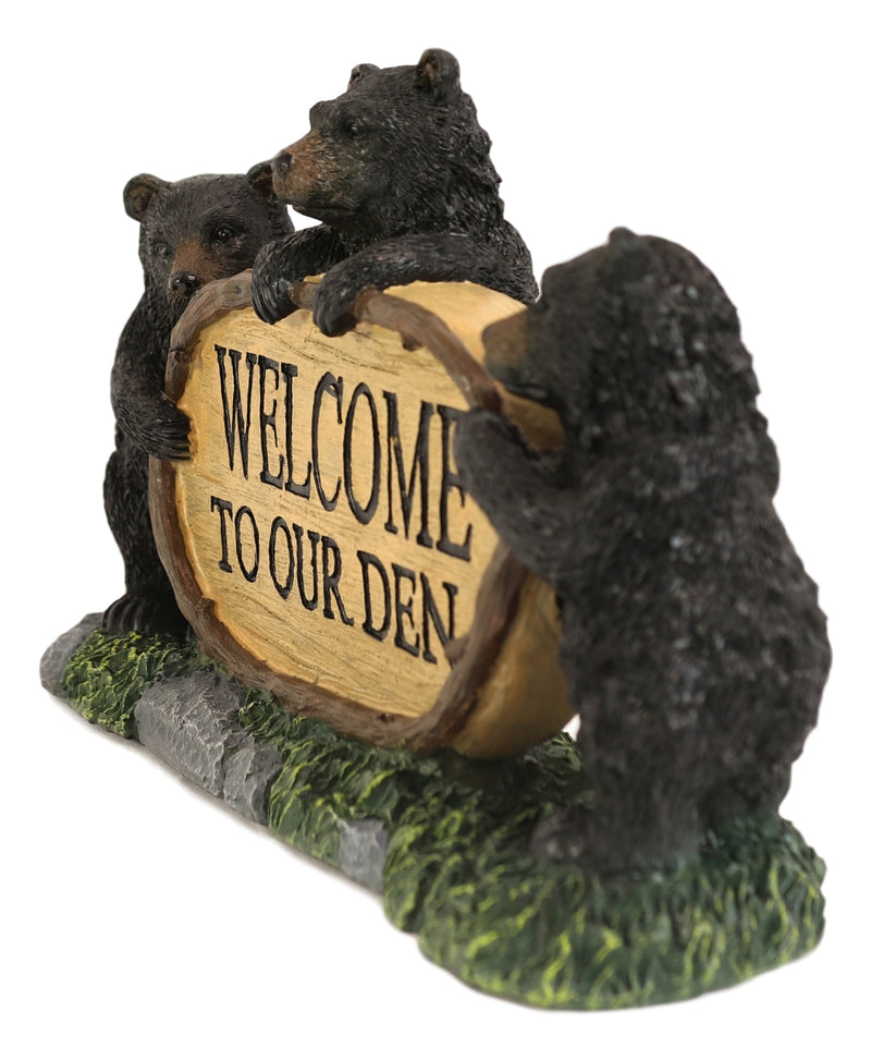 Welcome To Our Den Rustic Forest Papa Mama Cub Black Bears With Log Sign Statue