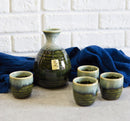 Japanese Glazed Earthenware 10oz Sandy Earth Art Sake Set Flask With Four Cups