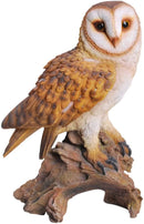 "Realistic Common Barn Owl Perching On Tree Stump Statue With Glass Eyes 13.75""H"