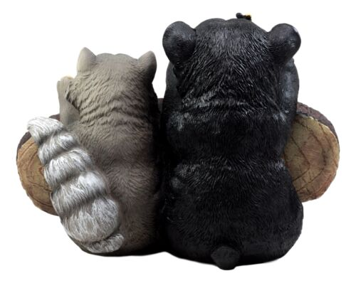 Ebros Black Bear & Raccoon Statue Wipe Your Paws Greeter Welcome Sign Home Decor