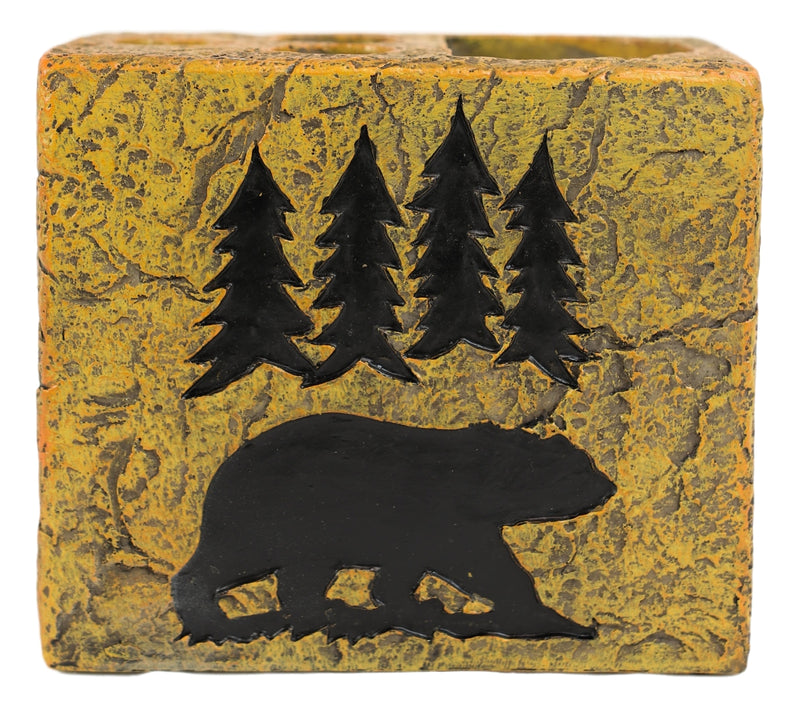 Rustic Western Black Bear By Pine Trees Silhouette Toothbrush Toothpaste Holder