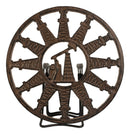 Rustic Round Pumpjack Cutout With Oil Derrick Towers Border Cast Iron Trivet