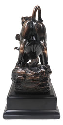 Wall Street Stock Market Signature Charging Bull With Conceding Bear Statue