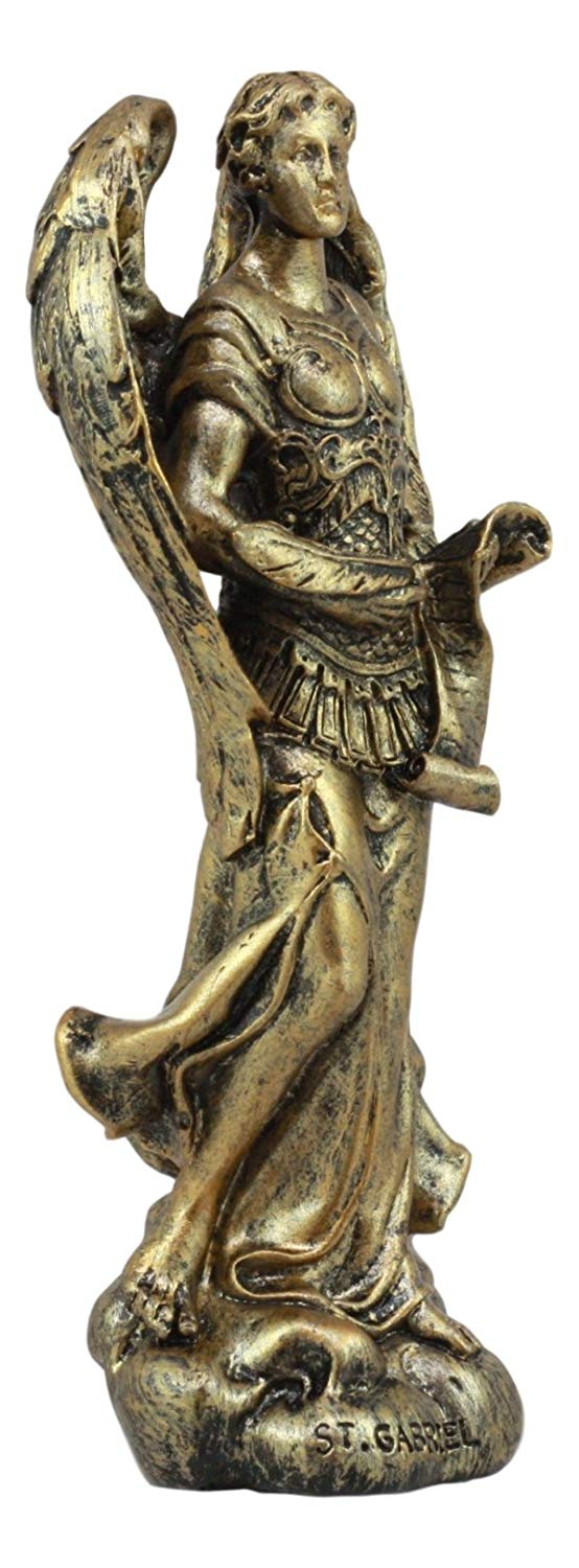 "Ebros Bronzed Greek Orthodox Christian Church Archangel of The Angelic Council Statue 5"" Tall Figurine (Gabriel The Power and Messenger of God)"