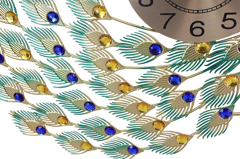 "Ebros 30"" Wide Large Iridescent Peacock Gold Plated Metal Wall Clock Analog Face - Ebros Gift"