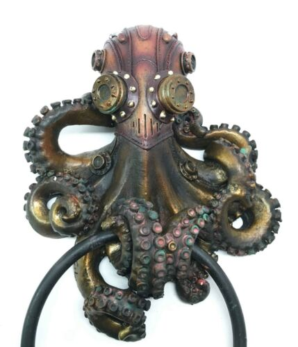 Steampunk Octopus Kraken Tentacle Warrior Decorative Resin Door Knocker Figurine
