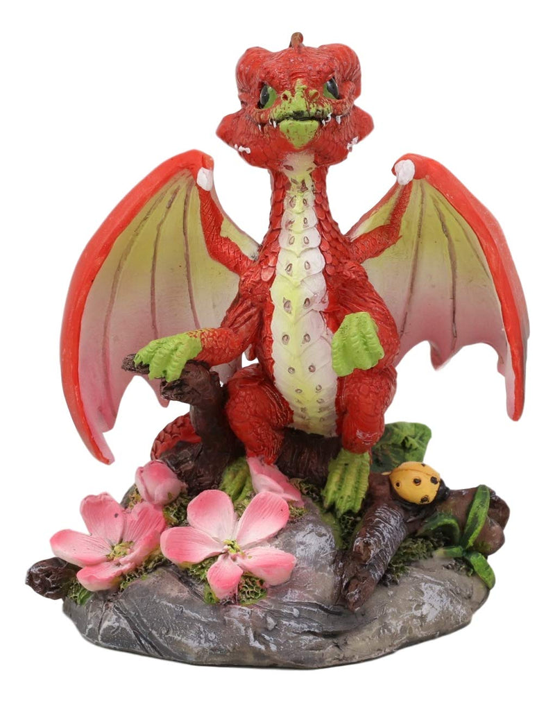 Ebros Colorful Garden Fruits and Berries Green Thumb Dragon Statue by Stanley Morrison Medieval Fairy Dragons Fantasy Decor Figurine (Crunchy Red Apple)