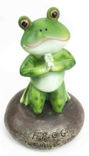 Frog Leap Of Faith Starts With Prayer On Both Knees Figurine Inspirational Decor