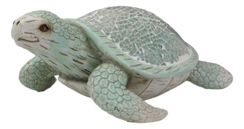 Aquamarine Coastal Beach Sea Turtle Statue With Mosaic Crushed Glass Shell 8.25""