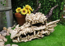"Large 27"" Long Dragon Fossil Skull With Horns Mighty Grendel Resin Home Decor Figurine"