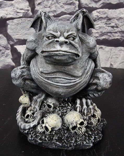 "Ebros Gift Grotesque Winged Toad Troll Gargoyle Standing On A Bed of Skulls Statue 6.25"" High Dark Fantasy Ossuary Macabre Graveyard Halloween Gargoyles Collectible Figurine Accent"
