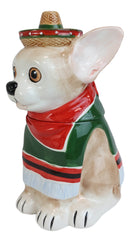 "Ceramic Cinco De Mayo Chihuahua Dog With Sombrero Hat And Serape Cookie Jar 10""H"
