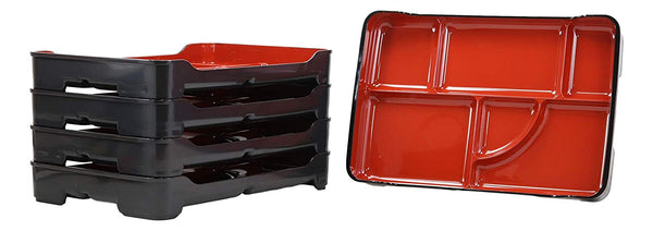 "Ebros Red And Black Traditional Japanese Large Bento Box With Dividers 6 Compartments Lacquered Copolymer Plastic Serving or Display Platter Tray 14"" by 9.25"" Made In Japan Dining Dinner Serveware (5)"