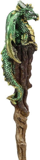 "Ebros Aragon Green Dragon Cosplay Wand 9.5"" Tall Accessory Fantasy Decor"