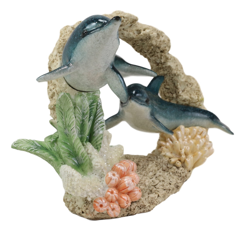 Nautical Marine Blue Bottlenose Dolphin Swimming By Coral Reef Decorative Statue