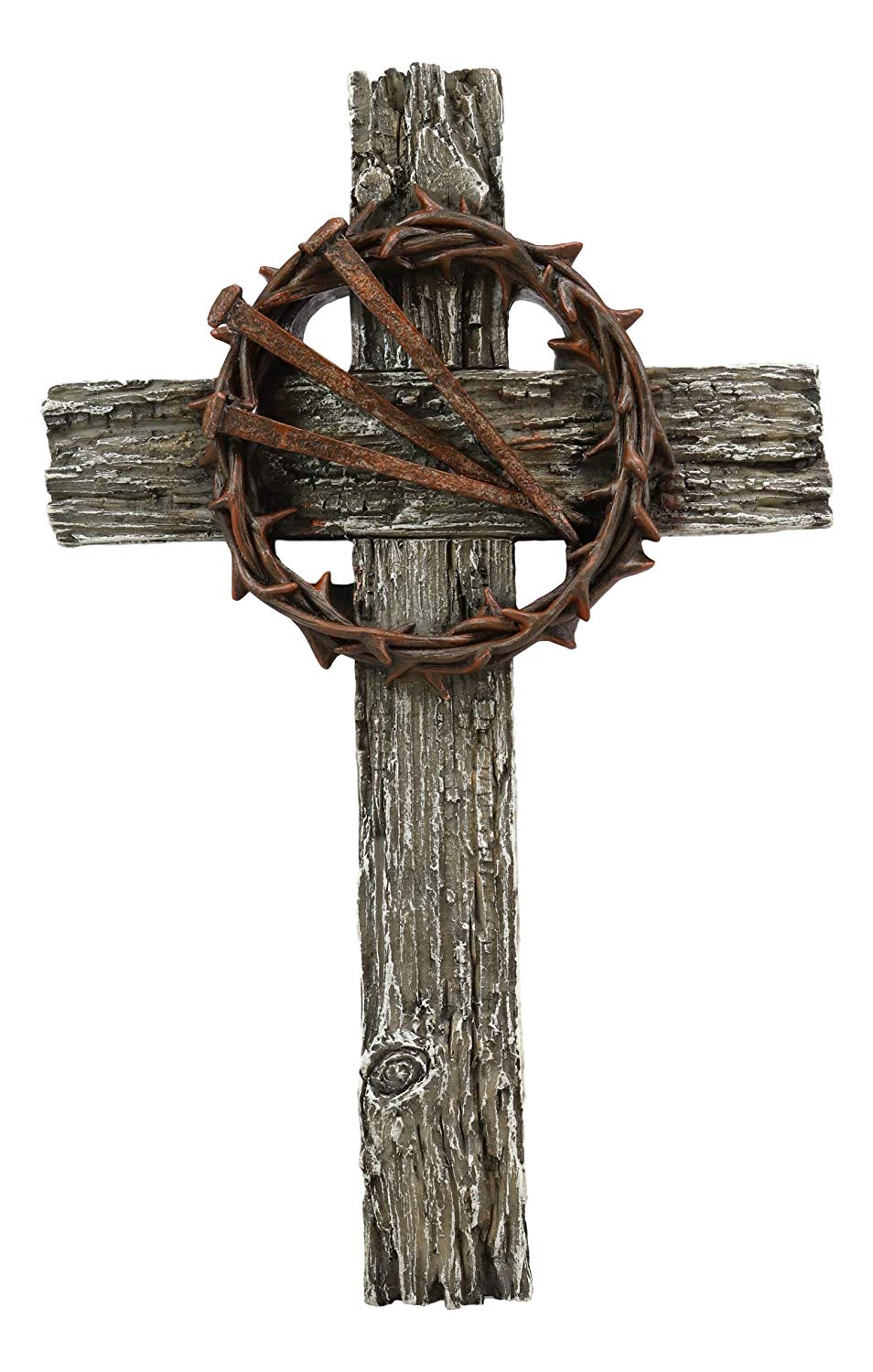 Ebros Gift Rugged Crucifix With Faux Rusted Driven Nails And Crown Of Thorns Wall Cross 3d