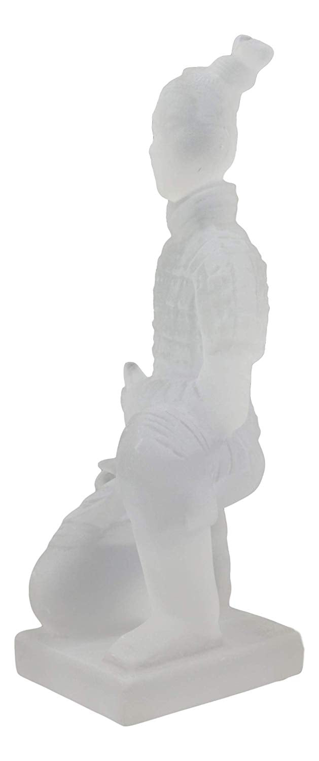 "Ebros Ancient Chinese Qin Dynasty Emperor Kneeling Terracotta Army Foot Soldier Warrior Statue 8.25"" Tall Acrylic Resin Antique Reproduction Historical Decor Figurine"