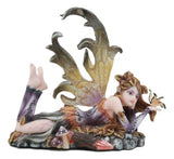 "Butterfly Kisses Fall Maple Leaf Fairy With Golden Butterfly Statue 6""Long"