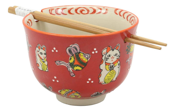 Ebros Gift Auspicious Lucky Meow Cat Japanese Maneki Neko Colorful Porcelain Bowl With Bamboo Chopsticks Set For Salad Ramen Pho Soup Cereal Home Kitchen Decorative Bowl (Red)