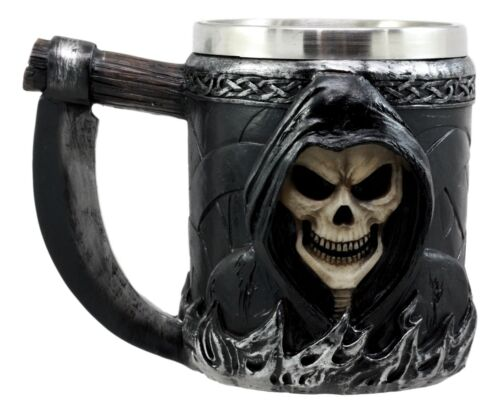 Skeleton Ghost Grim Reaper With Scythe Death Tankard Coffee Beer Mug Cup Death