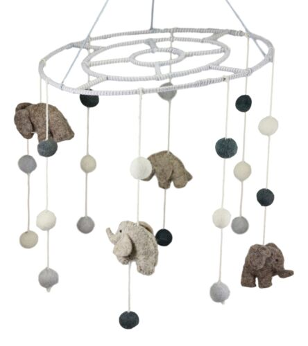 Ebros Fiona Walker England Handmade Organic Safari Elephant Nursery Mobile Baby Room Decor (Safari Elephant Mobile)