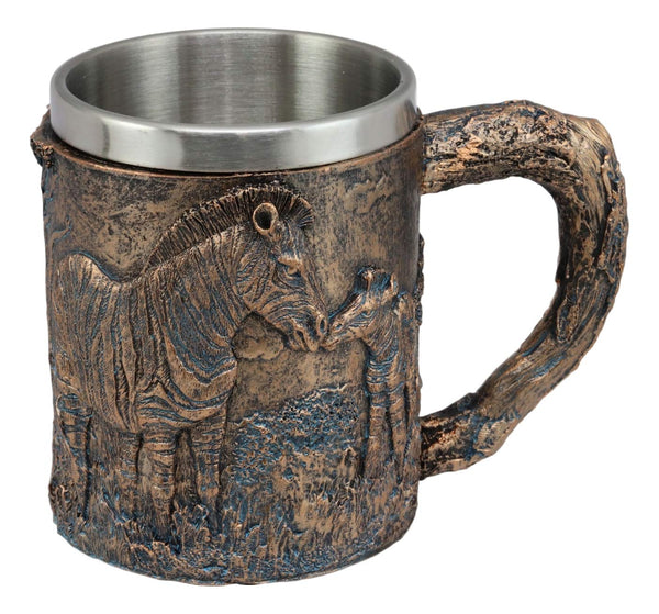 Ebros Animal Totem Spirit Mug Textured With Rustic Textured Tree Bark Design In Painted Bronze Finish 12oz Drink Beer Stein Tankard Coffee Cup (Zebra Horse)