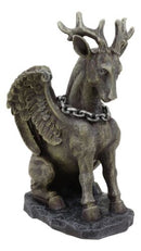 "Gothic Sitting Winged Pegasus Stag Horned Gargoyle in Stoic Pose Statue 6.25""H"