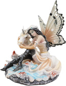 "Ebros Winter Butterfly Fairy with White Unicorn On Mushrooms Figurine 6.5"" Long"