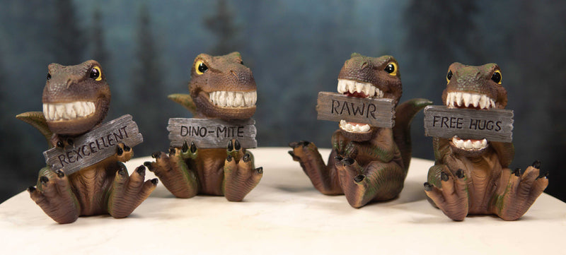 "Jurassic Proclamations Dinosaur T Rex Babies With Signs Figurine Set 4""Tall"