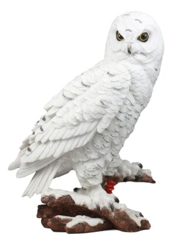 "Mystical White Snow Owl Bird Statue 12.25""Tall Nocturnal Bird Wildlife Owl Decor"