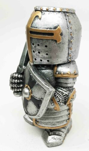 "Ebros Doll House Miniature 4.5"" Medieval Sword Shield Infantry Sculpture Suit of Armor"