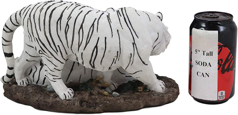 "Ebros 10.25"" Wide Embracing Albino Bengal White Tiger Couple Statue As Predator Forest Tigers Giant Cats Decorative Resin Collection Figurine Perfect for Shelves Desktops Decors - Ebros Gift"