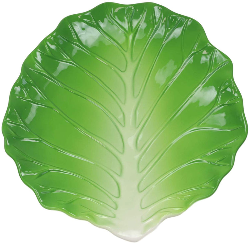 "Ebros 12"" Wide Hearty Green Cabbage Leaf Shaped Serving Plate Dish Platter 1 PC - Ebros Gift"